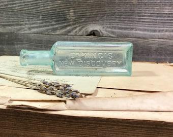 Vintage BOTTLE- Dr. King's New Discovery Seafoam Green BOTTLE- Quack Medicine Apothecary Medicine- D15