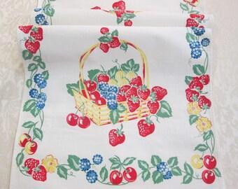 Vintage Kitchen Towel Linens Dish Cloth Hand Towels Tea Towel Fruit Baskets Cherries Strawberries Strawberry Towel Vintage Linens