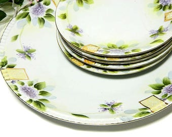 Six Piece Set Bibi Japan Cake Plate and Desserts Hand Painted Lilacs Art Deco