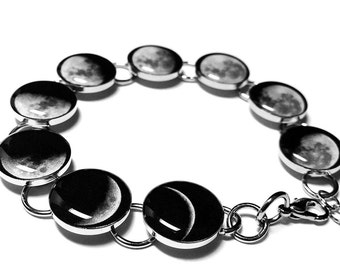 Phases Of The Moon Bracelet, Silver Plated Handmade Resin Space Bracelet, Lunar Jewelry, Solar System, Moon Phase Bracelet