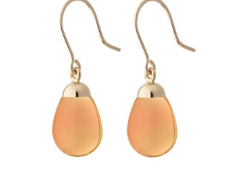 Earrings orange resin and gold
