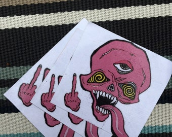 spun out done out' dusty pink sticker