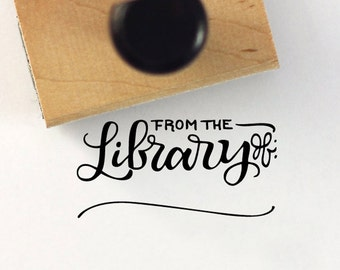From the library of - Hand Lettered stamp -  1 x 2 stamp - Bookplate