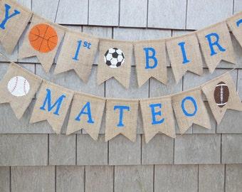 Sports Birthday Banner, Custom Personalized Birthday Banner, 1st First Birthday Banner Garland Bunting, Sports Birthday, All star Birthday
