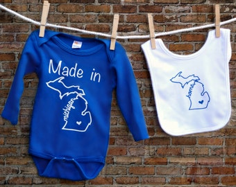 Made in Michigan Baby Bodysuit with Bib