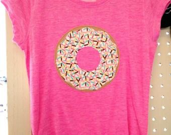 Girls donut shirt, toddler donut shirt, donut applique shirt, girl Christmas gift, girl birthday gift, modern donut shirt