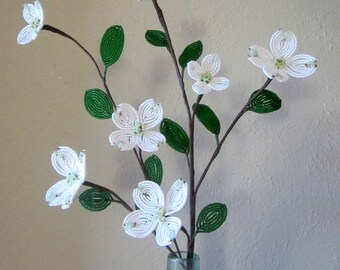 White Dogwood Branch -  Dee's French Beaded Flowers