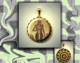 St Onouphrios the Great spiritual Icon hand pressed flat metal button CABOCHON in Brass Charm / Pendant