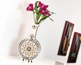 Wood Vase, Wooden Vase, Flower Vase, Single Flower Vase, Test Tube Vase, Test Tube, Flower, Decorative Vase, Art Deco Vase, Glass Vase