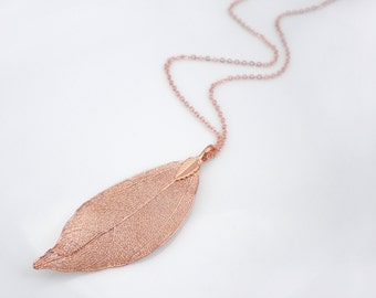 Real leaf long necklace, copper dipped leaf pendant, long rose gold necklace, statement necklace