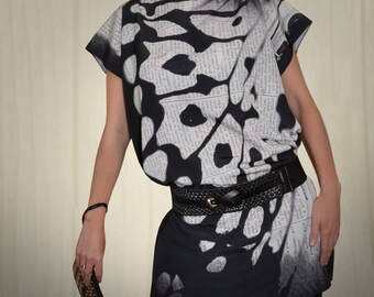 50 shades of grey Butterfly Wings T- dress / tunic, silky, bateau neck, small dress.