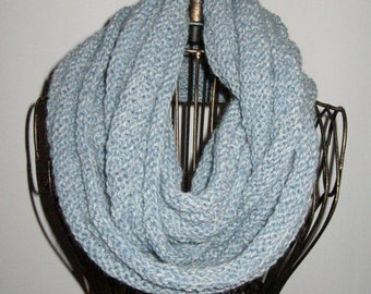 Light Blue Infinity Scarf / Blue Knit Cowl / Blue Circle Scarf / Wool and Acrylic washable
