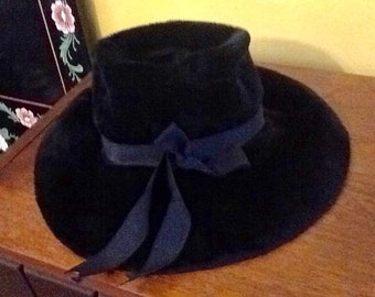 Vintage Black Wide Brim Floppy Hat Robin Of New York Imported Made In Great Britain Fedora Floppy Designer Velvet Winter