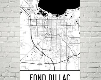 Fond du Lac Wisconsin Map, Fond du Lac Art, Fond du Lac Print, Fond du Lac WI Poster, Fond du Lac Wall Art, Gift, Map of Wisconsin, Decor