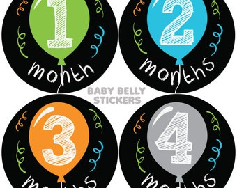 Baby Month Stickers, Monthly Baby Stickers, Monthly Milestone Stickers, Baby Monthly Stickers, Baby Belly Stickers, Balloons