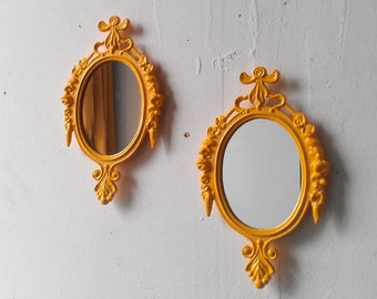 Framed Mirror Set of Two in Matching Vintage Frames, Marigold Yellow, Nursery Wall Decor, Home Decor