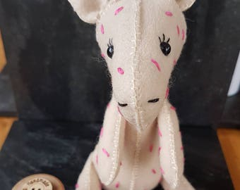 Collectible felt Giraffe with pink markings. Made from 100% Wool Felt.