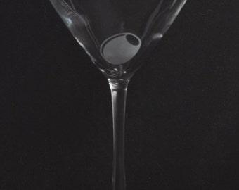 Etched 007 James bond martini 12oz glass by Jackglass on Etsy