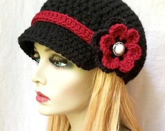 Womens Hat, Teen Black Newsboy, Red Band, Flower, Pearl Button, Gifts for Her, Birthday Gifts JE148NFB8