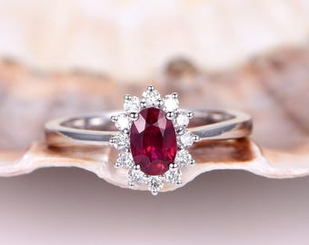 1.42ct Ruby Engagement Ring Ruby Ring Vintage Floral Moissanite Halo Plain Gold Wedding Band 14K White Gold Birthstone Ring Promise Ring