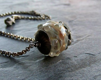 Lampwork Necklace, Rustic Jewelry, Organic Jewelry, Unique Pendant, Borosilicate Glass, Sterling Silver Necklace