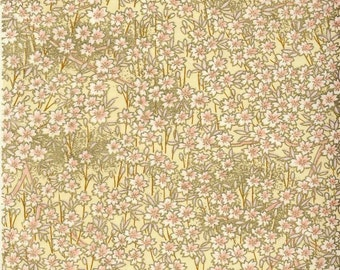 Chiyogami or yuzen paper - pale pink and gold blossoms, 9x12 inches