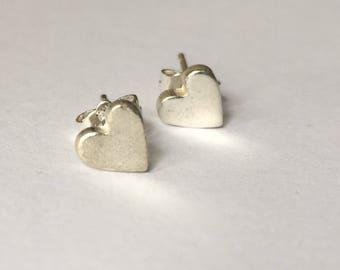 silver studs, heart studs, silver earrings, silver heart studs, fine silver hearts, small studs,