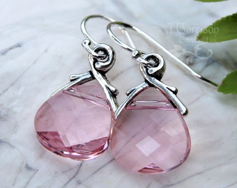 Light Rose Swarovski crystal briolette earrings - sterling silver, pale pink crystal - free shipping in USA