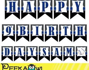 Printable Baseball birthday Banners - Boys baseball birthday banners - Printable Party birthday banners - Boy baseball birthday party banner