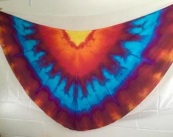Belly dance costume half circle silk veils READY TO SHIP  fan poi flow art