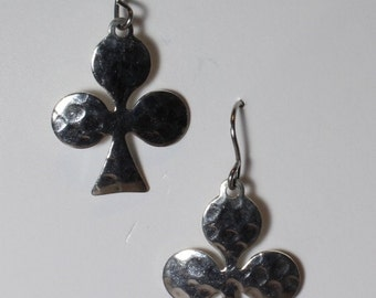 2 Club earrings on hypoallergenic surgical steel ear wires