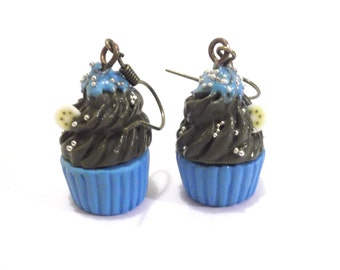 Blue Cupcake Earrings ( chocolate cupcake gift for her polymer clay jewelry dessert earrings food earrings miniature cupcake food jewelry )