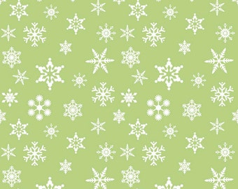 Holiday Snowflakes Green by Riley Blake Designs - Holiday Banners Christmas - Quilting Cotton Fabric - choose your cut