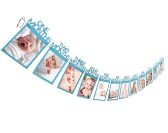 BLUE First Birthday Photo Banner, 1st Birthday First Year Banner, 12 Month Banner, Monthly Photo Banner, Picture Banner, 1st year banner