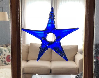 Cobalt Blue Glass Star, Ornament, Sun Catcher, Star Sun-catcher. Blue Star, Wire Wrapped, Hung with White Ribbon