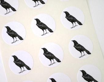 Black Raven Crow Stickers One Inch Round Seals