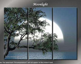 Framed Huge 3 Panel Digital Art Ocean Moon Moonlight Giclee Canvas Print - Ready to Hang