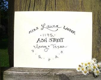 Whimsical handwritten envelope addressing