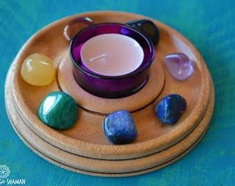 7 Chakra Stones Meditation Altar Candle Holder - mini Rustic wooden candle holder for spiritual practice and dedication