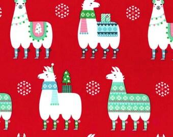 SALE - Michael Miller - Llama Navidad Collection - Llama Navidad in Red