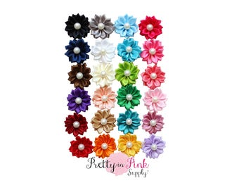 """1.5"""" Small Satin Pinwheel with PEARL Flowers- You Choose Quantity- DIY Headband Supplies- Flower- Wholesale- Supply Shop"""