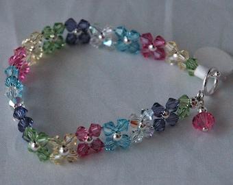 Rainbow Swarovski Crystal Kid Bracelet, Easter Bracelet, Flower Girls Bracelet, Multi color Bracelet