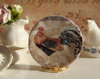 Checkered Rooster Plate for Dollhousre