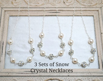 3 set of Bridesmaids Necklaces, Three Bridal Necklaces, Bridal Party Gifts, Wedding Necklace, Pearl, Rhinestone, Sterling Silver, Winter