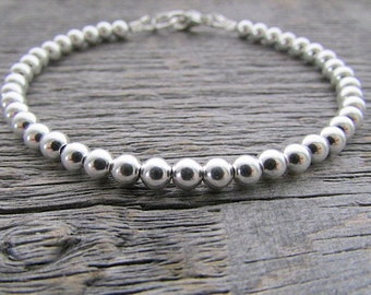 Sterling Silver Bead Bracelet, 4mm Bracelet, Sterling Silver Bracelet, Sterling Bracelet, Silver Jewelry, Bride Bracelet, Bracelet For Women