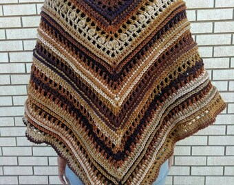 Latte -  Crocheted Shawl in Autumn Colors