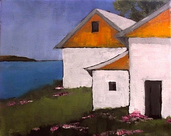 Farm Painting Landscape Seascape California Plein Air Pacific Ocean North Coast Barns Impressionist Art Lynne French o/c 8x10
