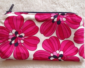 Zip Pouch Coin Purse in a range of Retro Floral Prints
