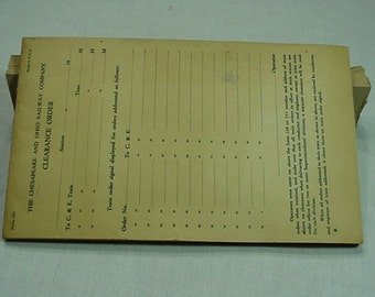 A Vintage Full Pad from The Chesapeake and Ohio Railroad Company Railroad Clearance Orders