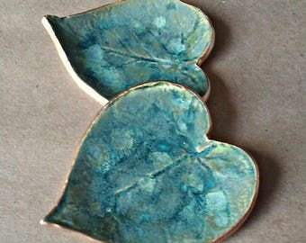 TWO Ceramic Ring Dishes Ring Bowls Ring holders Moss Creek green Leaves edged in gold